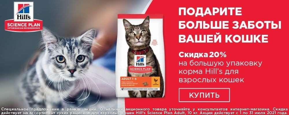 Скидка 15% на корм Hill's для взрослых кошек