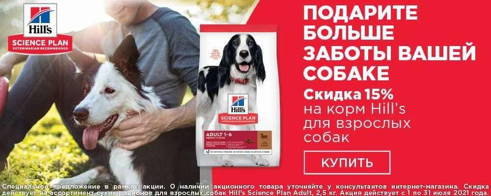 Hills скидка 15% на корм для взрослых собак (до 30.07.21)